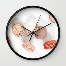 French Macarons Print, Sweet Macaroons Art, Minimalist Food Print, Paris Cuisine Decor, Pastel Cookies Print, French Patisserie Flat Lay Wall Clock