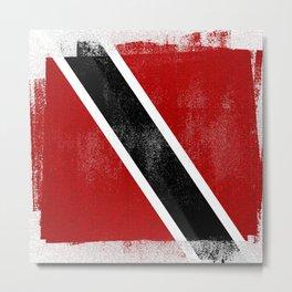 Trinidad and Tobago Distressed Halftone Denim Flag Metal Print