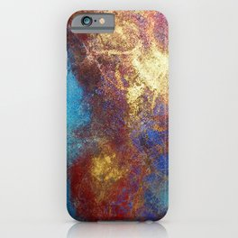 Philip Bowman Red, Blue And Gold Modern Abstract Art Painting iPhone Case