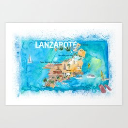 Lanzarote Canarias Spain Illustrated Map with Landmarks and Highlights Art Print