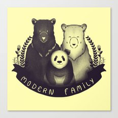 Modern Bear Family (Yellow) Canvas Print