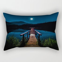 Dock under a Summer Moon and Stars Photographic Landscape Rectangular Pillow