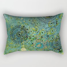 Blue & Green Abstract Art Collage Rectangular Pillow