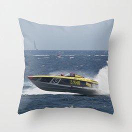 Powerboat Racing Throw Pillow
