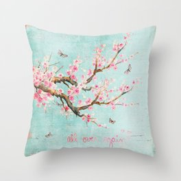 Its All Over Again - Romantic Spring Cherry Blossom Butterfly Illustration on Teal Watercolor Throw Pillow