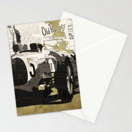 Race car number five, newspaper art collage, Gift For Dad, Gift For Him Stationery Cards