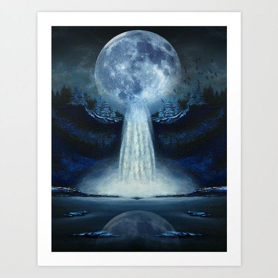 waterfall moon Art Print