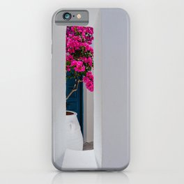 Mamma Mia greek white house with purple magenta flower photography iPhone Case