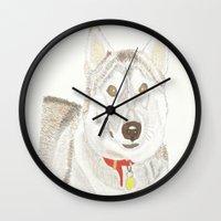 husky Wall Clocks featuring Husky by Lee Watson