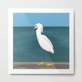 Yellow Foot - White Egret, Blue Sky, Dark Turquise Ocean Painting Metal Print