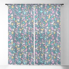 Floral Burst with Dinosaurs + Unicorns in Neon Sheer Curtain