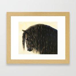 Black Friesian Draft Horse Framed Art Print