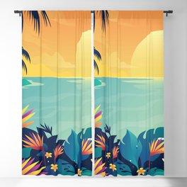 Sunset Beach Illustration Blackout Curtain