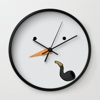 snowman Wall Clocks featuring Snowman by Sweet Colors Gallery