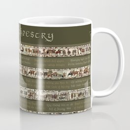 Bayeux Tapestry on Army Green - Full scenes & description Coffee Mug