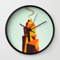 house Wall Clocks featuring House by Dorian Danielsen