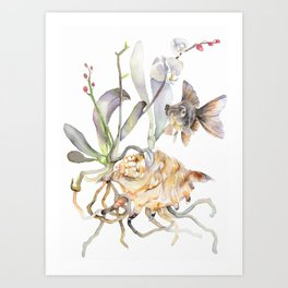 Sea shell Nature Illustration Black Goldfish Orchids Art Print