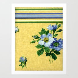 Yellow and Blue Retro Floral Art Print