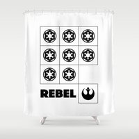 rebel Shower Curtains featuring Rebel by JuakiR
