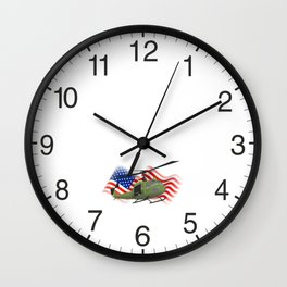 UH-1 Huey Helicopter with American Flag Wall Clock