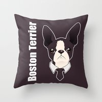 boston terrier Throw Pillows featuring Boston Terrier by brit eddy