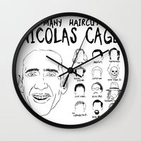 nicolas cage Wall Clocks featuring The Many Haircuts Of Nicolas Cage. by Stewart Chown