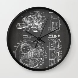 Movie Camera Patent - Film Camera Art - Black Chalkboard Wall Clock