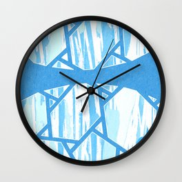 Abstract Blue Mosaic Design Wall Clock