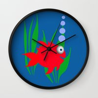 goldfish Wall Clocks featuring Goldfish by lescapricesdefilles