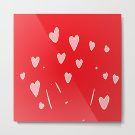 Floating hearts on red Metal Print