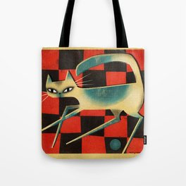 CHECKERBOARD CAT Tote Bag