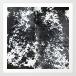 Black and white cowhide Art Print
