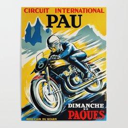 Grand Prix Pau, vintage poster, Motorcycle poster, race poster, Motorcycle poster Poster