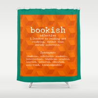 tote bag Shower Curtains featuring Bookish tote bag design by Artistic Home Decor
