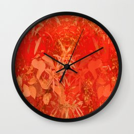 Beautiful red foliages - illustration of garden Wall Clock