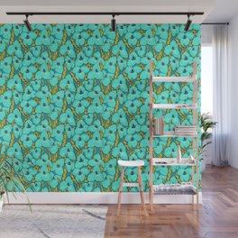 Blue Puya, Floral Pattern, turqouise, teal and yellow Wall Mural