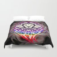 psychedelic art Duvet Covers featuring Lion Psychedelic Pop Art by BluedarkArt