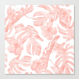 Tropical Palm Leaves Hibiscus Flowers Coral Pink Canvas Print