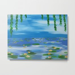 monet style water lillies lilys lilies nympheas impresionist pond sky willow lily pads lilly pad Metal Print