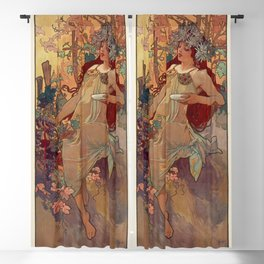 1896 AUTUMN Fall - 4 Seasons Alphonse Mucha Art Nouveau Goddess Vintage Lithograph French AUTOMNE Beauty Nature Art Wall Hanging Decor Print Blackout Curtain
