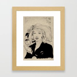 Portrait of a Lady with Flowers Framed Art Print