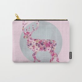 Flower Deer and circle pastel blue pink colors Carry-All Pouch