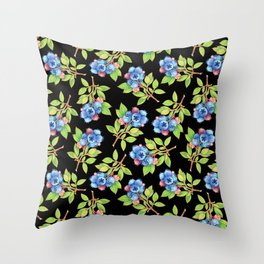 Wild Blueberry Sprigs Throw Pillow