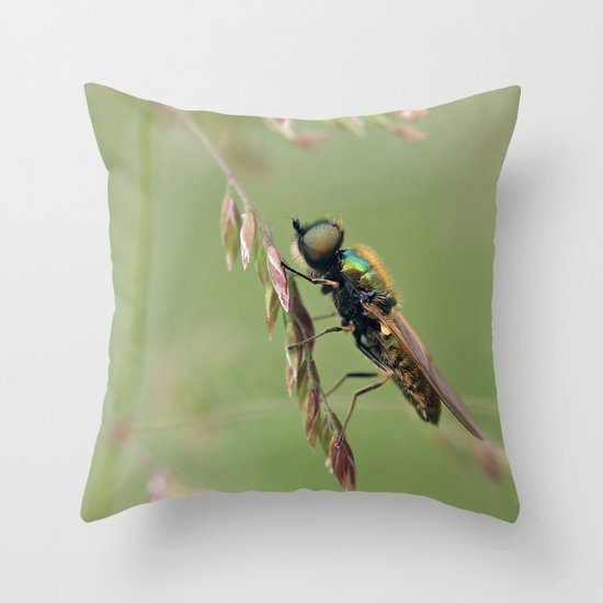 Green Soldier Fly Throw Pillow