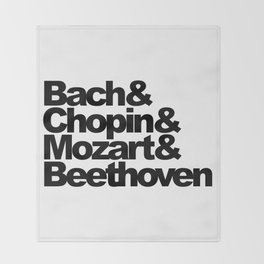 Bach and Chopin and Mozart and Beethoven, sticker, circle, white Throw Blanket