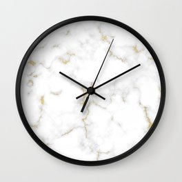 Fine Gold Marble Natural Stone Gold Metallic Veining White Quartz Wall Clock
