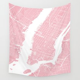 New York, USA, City Map - Pink Wall Tapestry