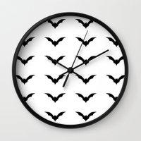 bats Wall Clocks featuring Bats by Katrina Zenshin