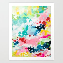 Colorful Fantasy Neon Rainbow Abstract Art Acrylic Painting Fluffy Pastel Clouds by Ejaaz Haniff Art Print