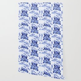 Blue Botanical Toile Wallpaper